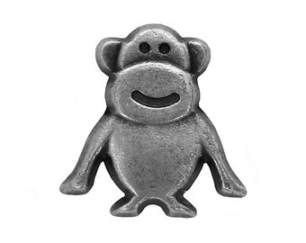 12 Tiny Monkey 1/2 inch ( 12 mm  ) Metal Buttons Antique Silver Color