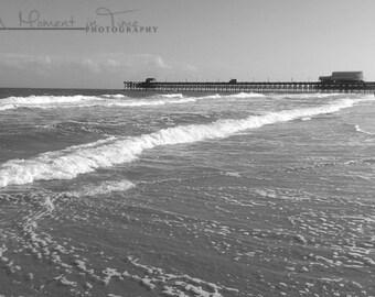 Myrtle Beach Photography, Black and White, Beach Wall Art, Beach Theme Decor, Nautical Decor, Ocean Art, Office Decor, ACEO Card