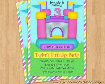 Girl Bouncy House Birthday Invite, Bounce Castle Party Invitation - Printable, Digital, Custom, Girly, Backyard, Rainbow