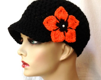 Women Newsboy Black hat, Oregon State, University of Tennessee, Princeton, Cancer hat, teens, birthday gifts for women JE2N6