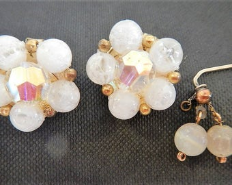 Vintage Lisner Pin & Earrings Set - frosted white bead - 1960s - clip-on earrings, retro jewelry, iridescent beads