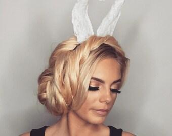 White lace bunny ears headband
