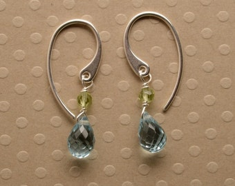 Blue Topaz Earrings, Gemstone Dangle Earrings, Healing Gemstone Jewelry, December Birthstone, Summer Earrings