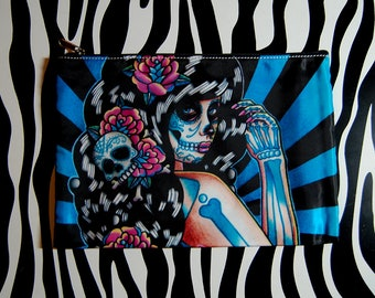 Cosmetic Bag Case | Midnight Motif by Carissa Rose | Day of the Dead Sugar Skull Girl Pin Up | Rockabilly Psychobilly Goth Accessory