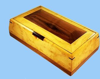 Jewelry Box, Wooden Jewelry Box, Wooden Keepsake Box, Valet Box, Men's Valet, Keepsake Box, Wood Treasure Box
