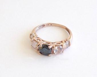 Blue Diamond, Morganite and White Diamond Ring