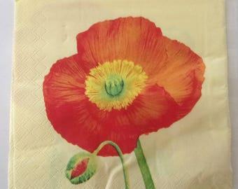 20 green yellow red poppy art paper napkins   3436
