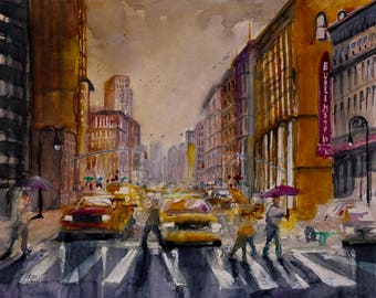 NEW YORK CITYSCAPE * Rainy Morning Downtown * Giclee Print on Stretched Canvas * Original Medium Watercolor