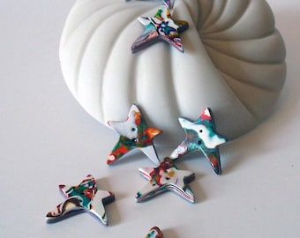 Rainbow Star Handmade Buttons Set of 7 Polymer Clay White, Red, Orange, Yellow, Green, Blue, Purple