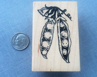 Happy Sweet Pea Pods Rubber Stamp