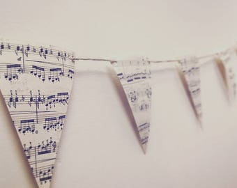 Recycled Music Sheet Bunting - perfect for any special occasion or home decoration - weddings, birthdays, engagement, Christmas, baby shower