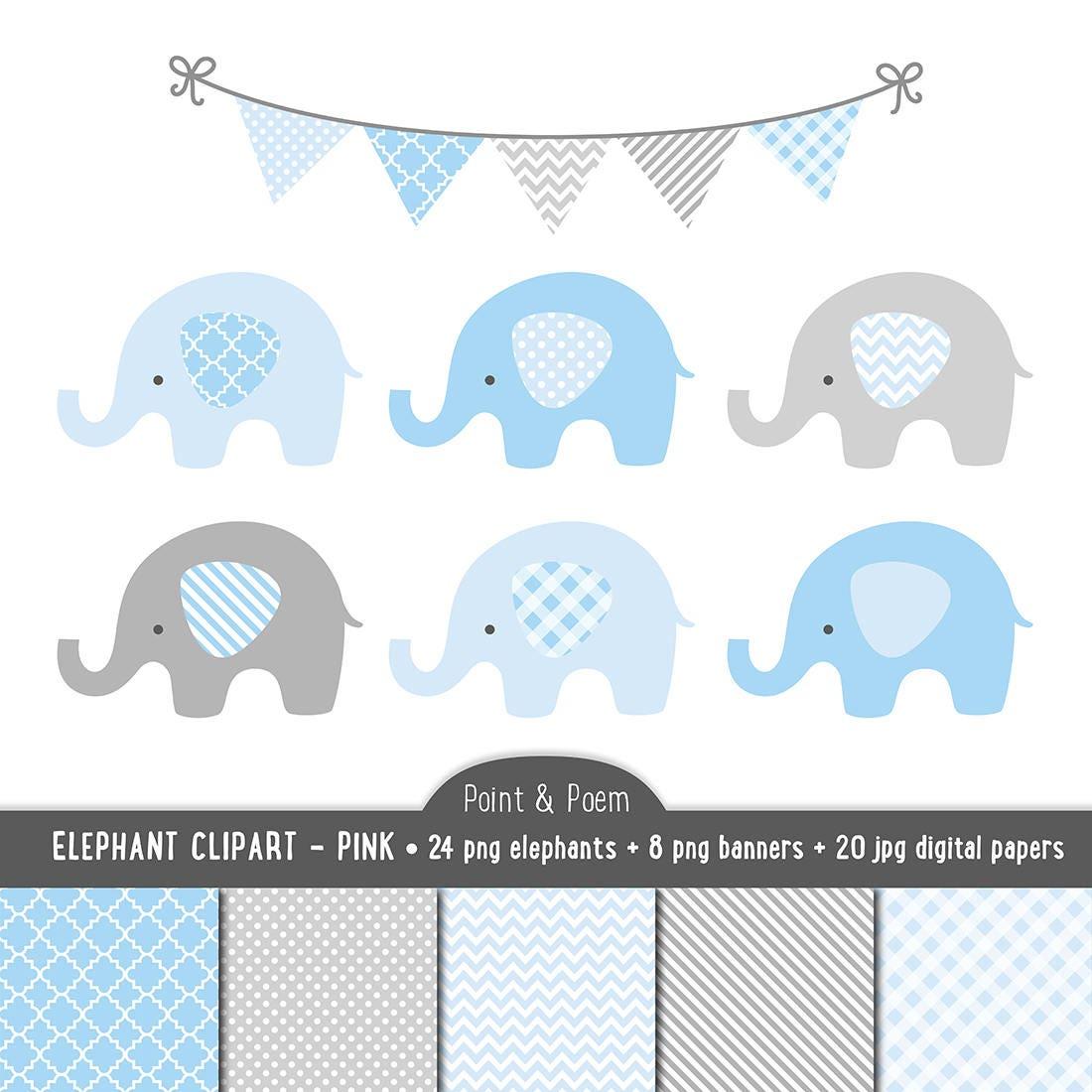 Elephant Clip Art, Digital Papers, Blue Baby clipart, Blue ...