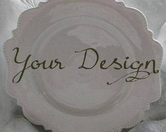 White Custom Dishes Dishwasher \u0026 Microwave Safe Personalized \ White Dot\  Dinnerware & Monogrammed china   Etsy