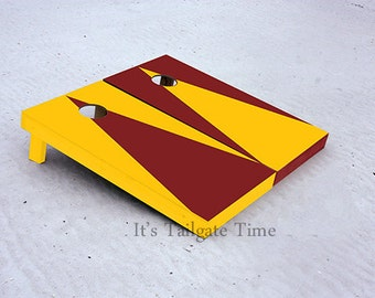 Custom Cornhole Boards Yellow and Burgandy Alternating Triangle No Stripe with 1x4 frames
