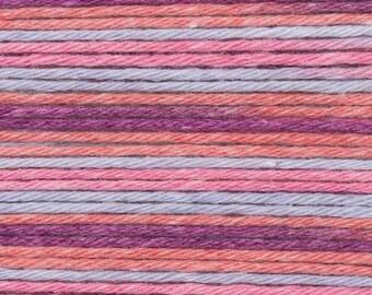 RICO BABY COTTON Soft Print Pelote fil coton et acrylique multicolore lilas rouge 50g 125m