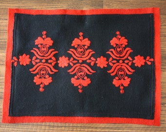 Hungarian Felt Matyo Embroidered Pillow Cover Folk Art Red Black