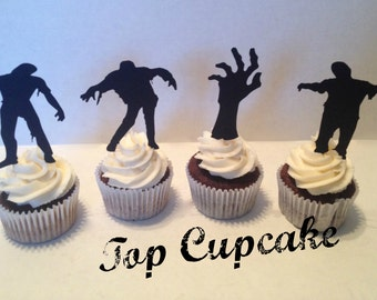 Zombie Silhouette Cupcake Toppers -12