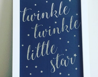 "Framed Nursery Rhyme Foil Print ""Twinkle Twinkle LIttle Star"""