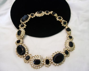 Kenneth J Lane KJL Fancy Flower Necklace Black & White Glass Rhinestone Gold Plate