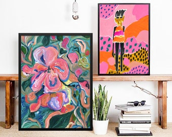 Big Size Poster of flower painting, abstract and contemporary art