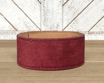 your words cuffs - custom hand stamped leather belt bracelet - personalized with your words - suede cranberry - leather cuff