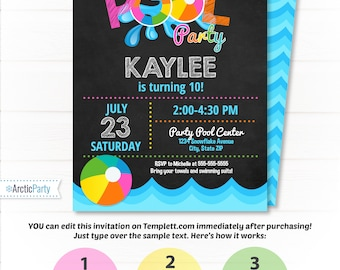Pool Party Invitations - Swimming Pool Birthday Party - Swimming Party Invitations - Pink Pool Party Invitation - Pool Birthday Supplies