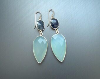 Blue Dangle Earrings, Sterling Silver Earrings, Valentines day Gift, Drop Earrings, Silver Blue Earrings