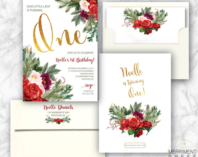 Christmas First Birthday Invitation // Red // Green // Burgundy // One // Any Age // Holiday // Gold // Greenery // WHISTLER COLLECTION