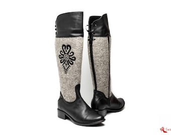 Boots with embroidered parzenica - polish folk pattern