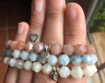 Sun, Moon + Sea | Spiritual Junkies | Sunstone, Moonstone, Aquamarine Star Nuggets + Thai Silver Sun + Moon | Mala | 3 Yoga Bracelet