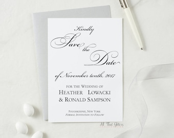 Wedding Save the Date Cards, Save the Date invitations, Elegant Save the dates with envelopes, black and silver save the dates, Heather
