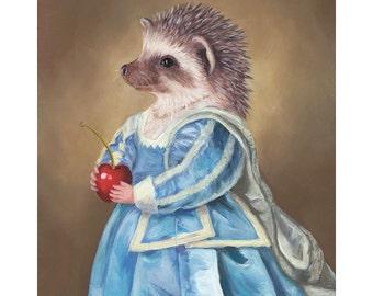 Hedgehog Portrait, Prints, Hedgehog in Clothes, Mrs. Hedgehog, Hedgehog in Costume