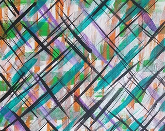"""Green, Orange, Purple, Black and Silver Original Acrylic Abstract Painting on Canvas """"Series 5 I"""" Wall Art, Wall Hanging, Artwork, Modern"""