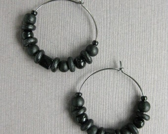 CLEARANCE Hoop Earrings, Black Beaded Casual or Dressy Light weight Earrings with Gunmetal Grey Hoops,  E 220