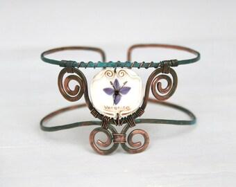 Real Flower Bracelet, Adjustable Bracelet, Copper Hand Bracelet, Forget Bracelet, Botanical Jewelry, Romantic  Jewelry, Real Flower Jewelry