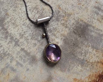 Sterling Silver Necklace, Amethyst Gemstone Necklace, Amethyst Pendant