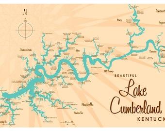 Kentucky lake map Etsy