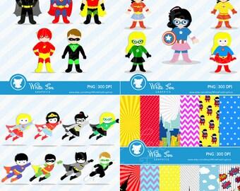 50% OFF SALE Teacher Clipart / 4 Set Bundle / Classroom Clipart / Kids Clipart / Teacher Cliparts / Superhero / Item No: Superhero-CS1