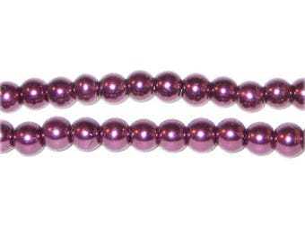 6mm Round Crimson Glass Pearl Bead, approx. 78 beads