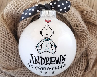 Baby Boy's 1st Christmas Ornament, First Christmas Ornament, Personalized Baby Ornament, First Christmas Boy, Baby Boy Ornament, Christmas