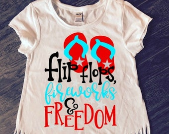 FREE SHIPPING**Flipflops Fireworks And Freedom Fringe Top, 4th Of July, Red White & Blue.