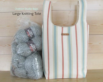 Large Knitting tote bag, Large knitting bag, Canvas grocery bag, Knitting project bag in Coral Aqua stripe