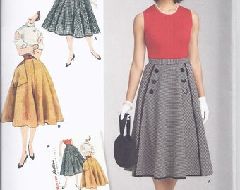 Simplicity 8458.  Reprint of 1950's vintage pattern.   Gored, Full Skirt with waistband.   Waist  23-28.  UNCUT