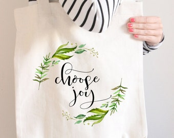 Choose Joy, Tote bag, Floral Tote, College Tote Bag, College Bag, Natural Tote bag, Back To School,