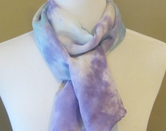 Hand dyed purple and blue silk and wool scarf -