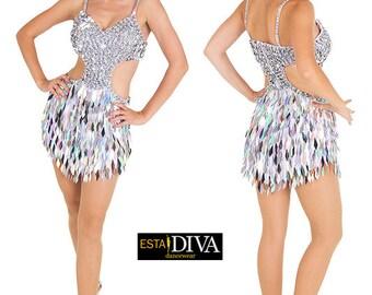 Latin Sequin Dress - Macla Brillar, Latin Dress, Latin Dance Dress, Dance Dress, Dancewear, Sequin Dress