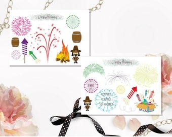 Bonfire Night 5th November Fireworks Stickers, planner stickers, kids stickers, guy fawkes