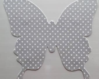 STICKER TEXILE textile - shape Butterfly color gray with white polka dots