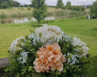 Hydrangea Centerpiece, Faux Floral Arrangement, Light Orange and Ivory Flowers, Floral Table Centerpiece, Home Decor, Wedding Centerpiece