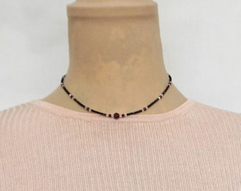 Black spinel and garnet choker with Swarovski crystal beads and sterling silver extender
